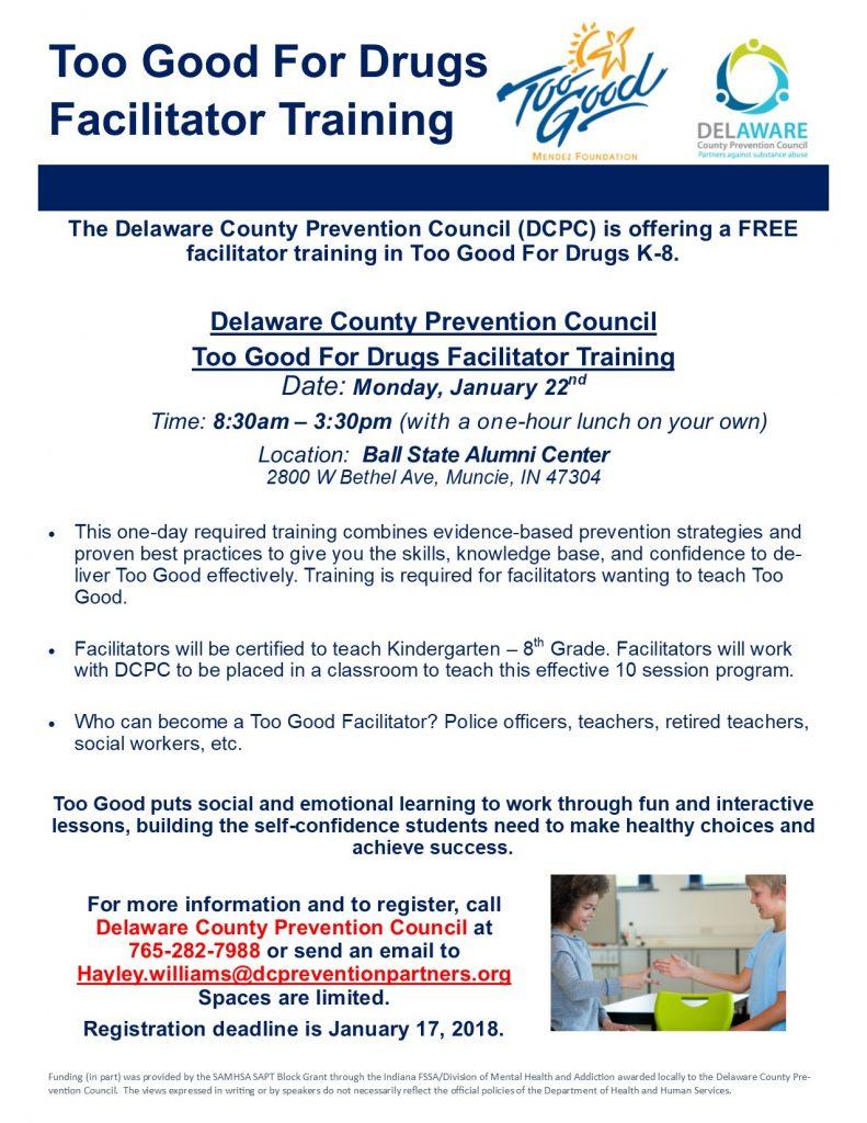 Too Good For Drugs Facilitator Training- January 22nd - Delaware ...